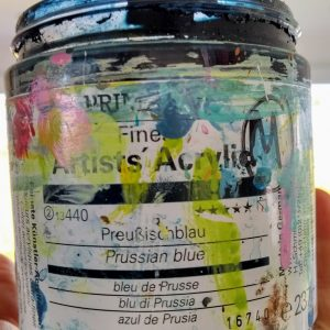Prussian blue jar of paint