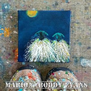 Small Sheep Paintings: Full Moon Friends