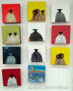 Small sheep paintings by Skye artist Marion Boddy-Evans