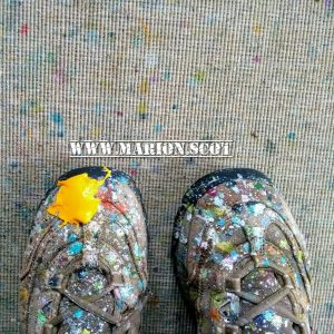Paint splattered shoes