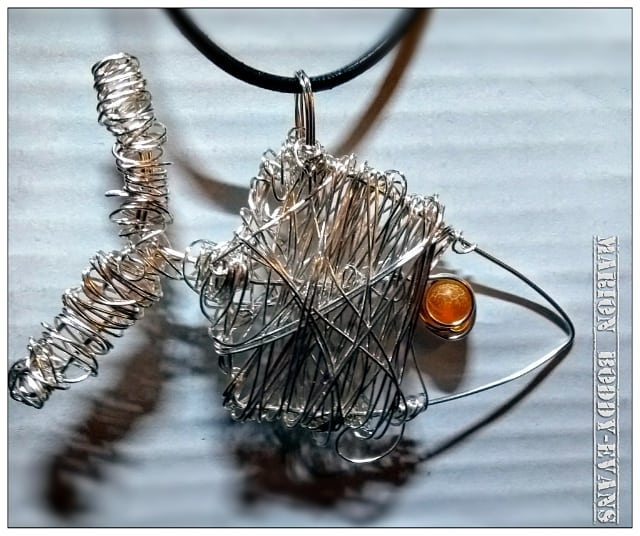 Wirework Fish with Orange Eye Necklace