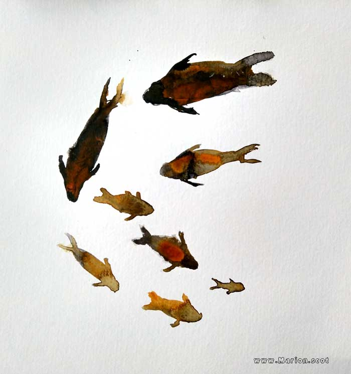 Gold Fish Painting on paper