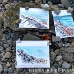 Watercolour and ink drawing seashore