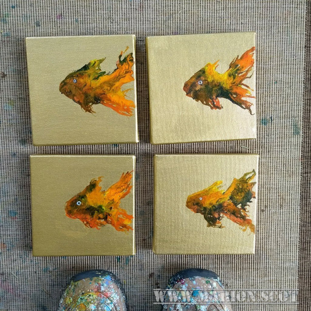 Four little goldfish paintings
