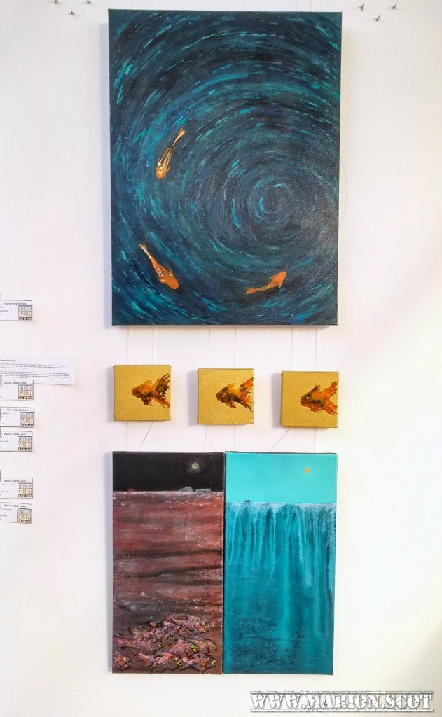 Paintings at Fish Exhibition at Skyeworks by Marion Boddy-Evans