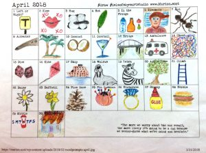 April word prompt chart by Margaret