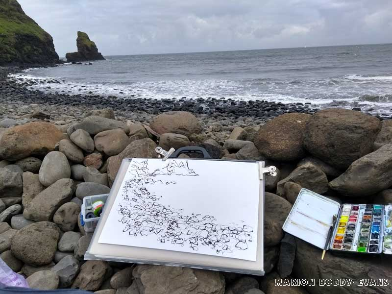 Sketching at Talisker Bay, Isle of Skye