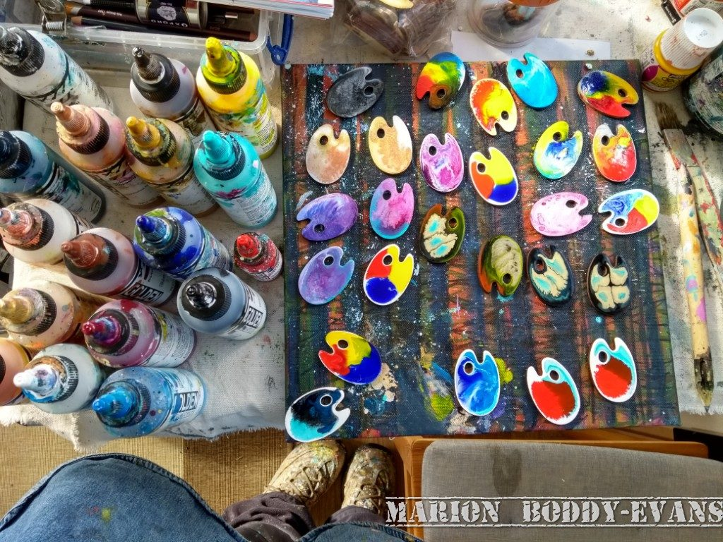 Palette brooches hand painted by Marion Boddy-Evans