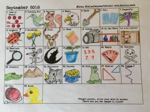 September Word Drawing Chart