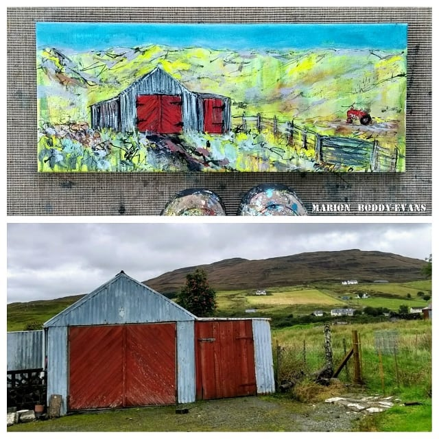 Red tractor and shed painting