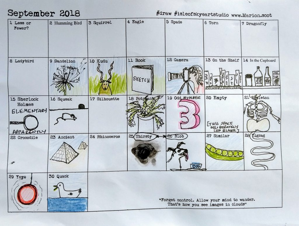 September Word Drawing Chart Marion
