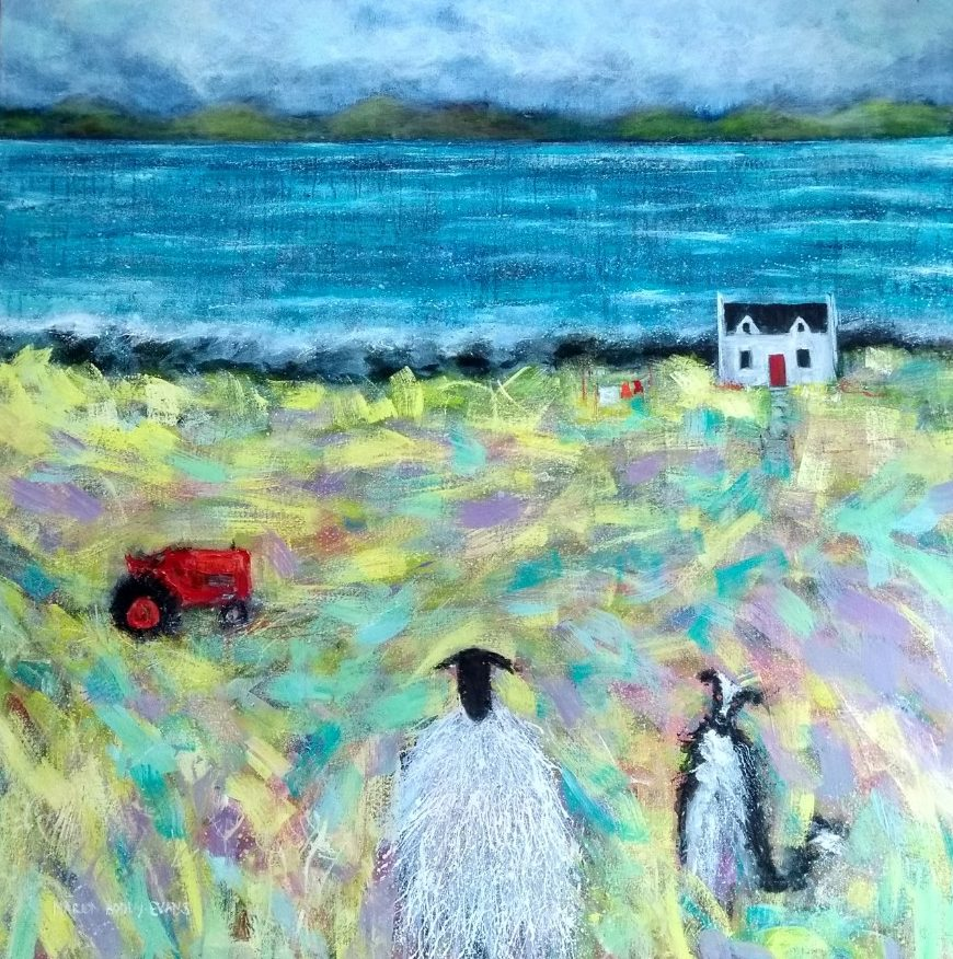 Sheep painting TLC (Tractor, Lamb, Collie) by Marion Boddy-Evans