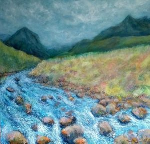 River at Sligachan painting by Marion Boddy-Evans