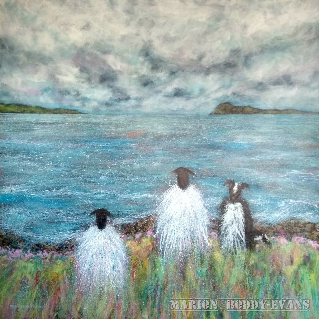 Two is Company Sheep Painting by Marion Boddy-Evans
