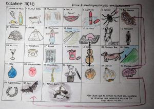 Word Prompt Drawings Chart by Margaret