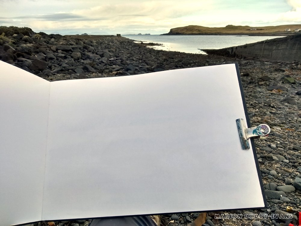 sketching rocks on Skye