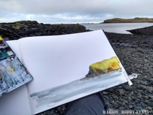 Sketching at Camus Mor Isle of Skye