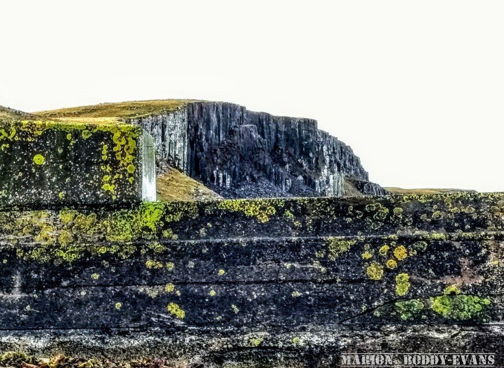 Sea wall vs cliffs Camus Mor Isle of Skye