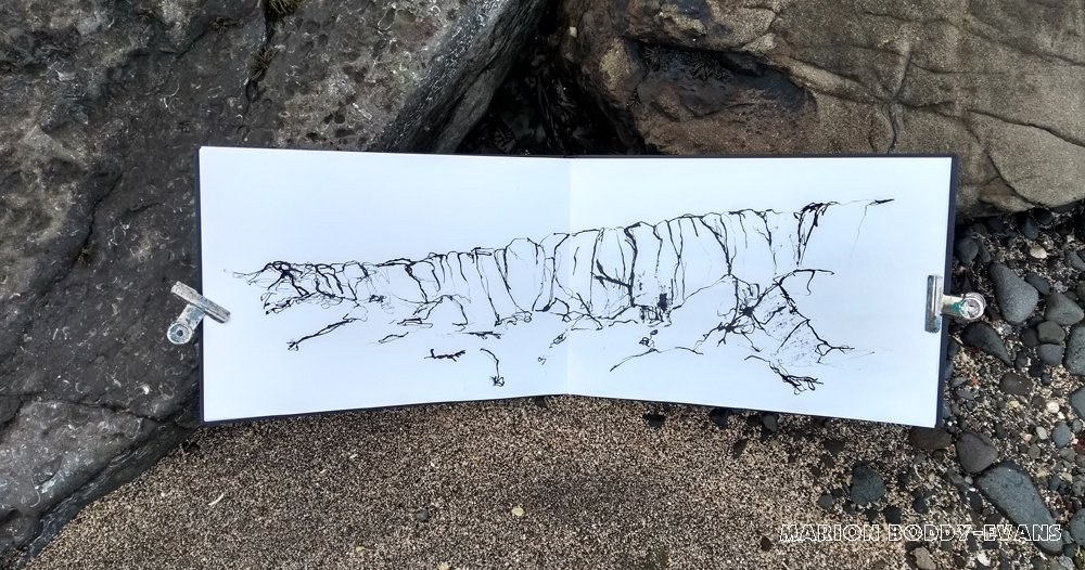 ink sketching rocks on Skye