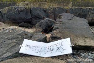 ink sketching rocks on Skye