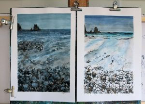 Two Talisker Bay paintings by Marion Boddy-Evans