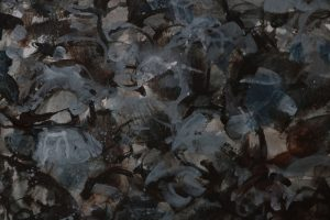 Detail from painting rocks in opaque layers