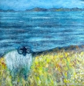 """Sheep Painting """"Down Off the Hills"""" by Marion Boddy-Evans"""