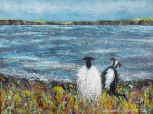 Sheep and sheepdog painting