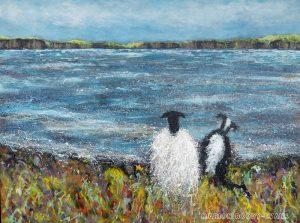Sheep and sheepdog painting