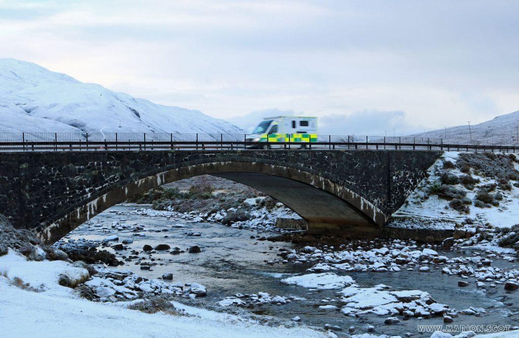 Sligachan bridge with ambulance