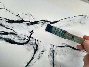 Black ink and a big coarse brush