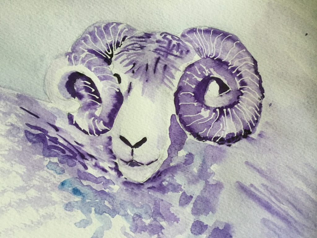 Ram shorn painting by Cathi