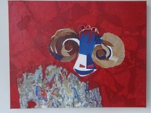Ram painting in mixed media