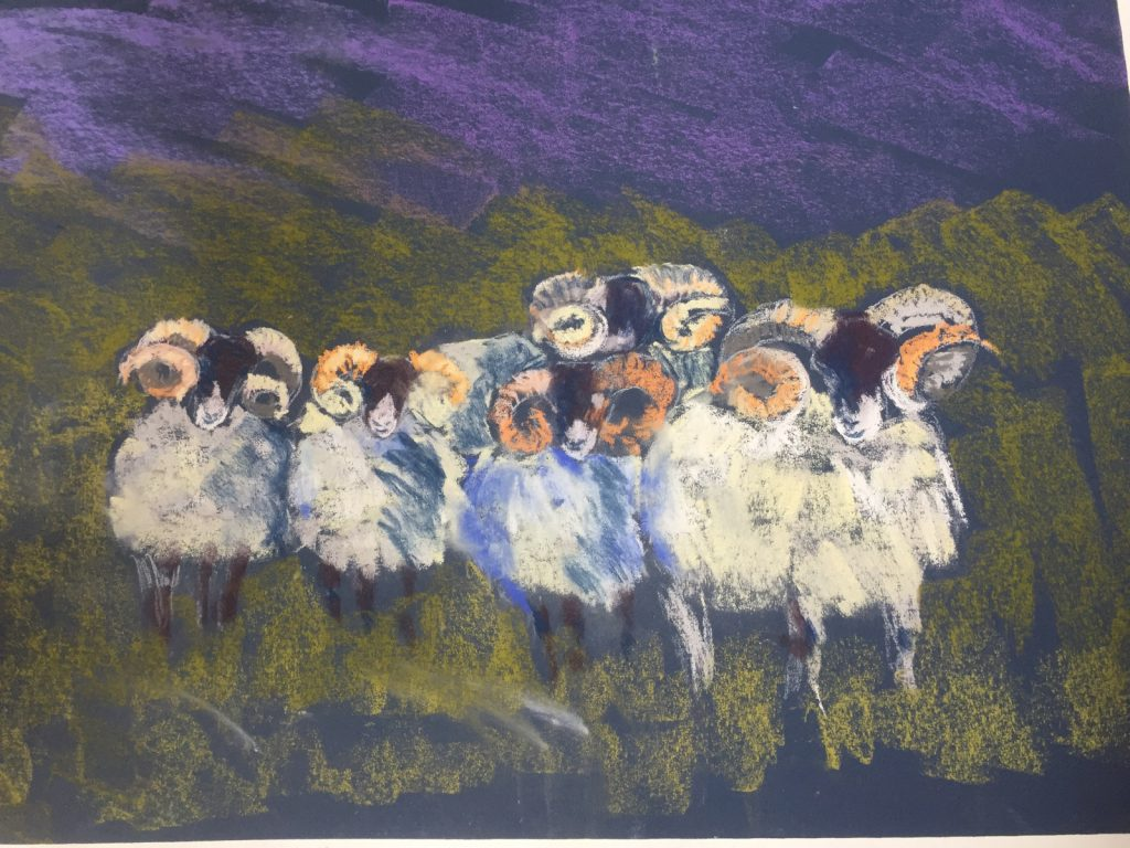 Row of rams painting with pastels