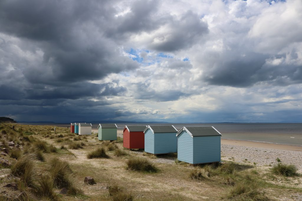 Beach Huts at Findhorn Beach