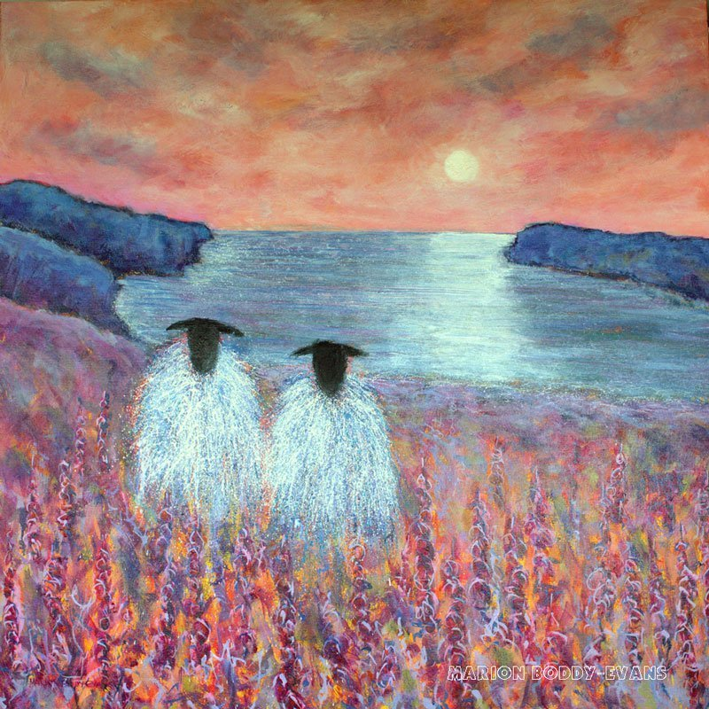 Sheep painting with sunset