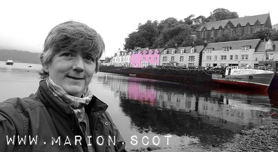 Artist Marion Boddy-Evans at Portree Harbour