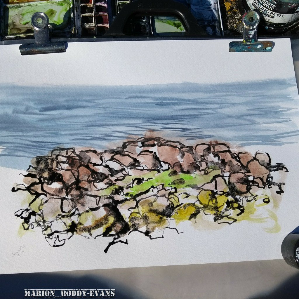 Watercolour of rocks