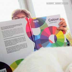 Marion reading Tate Colour Book