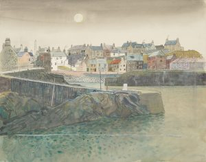Painting of Portsoy Harbour by George Mackie