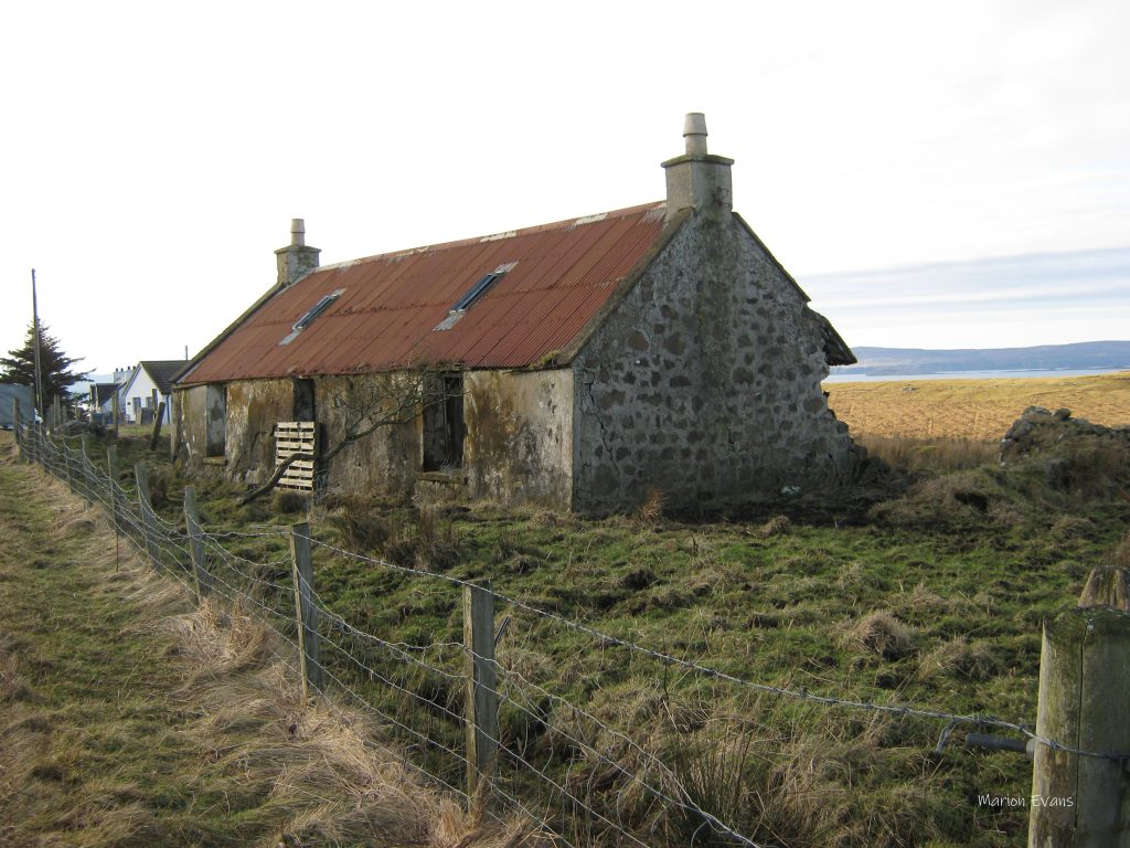 Ruined Croft House on Skye with corrugated iron roof