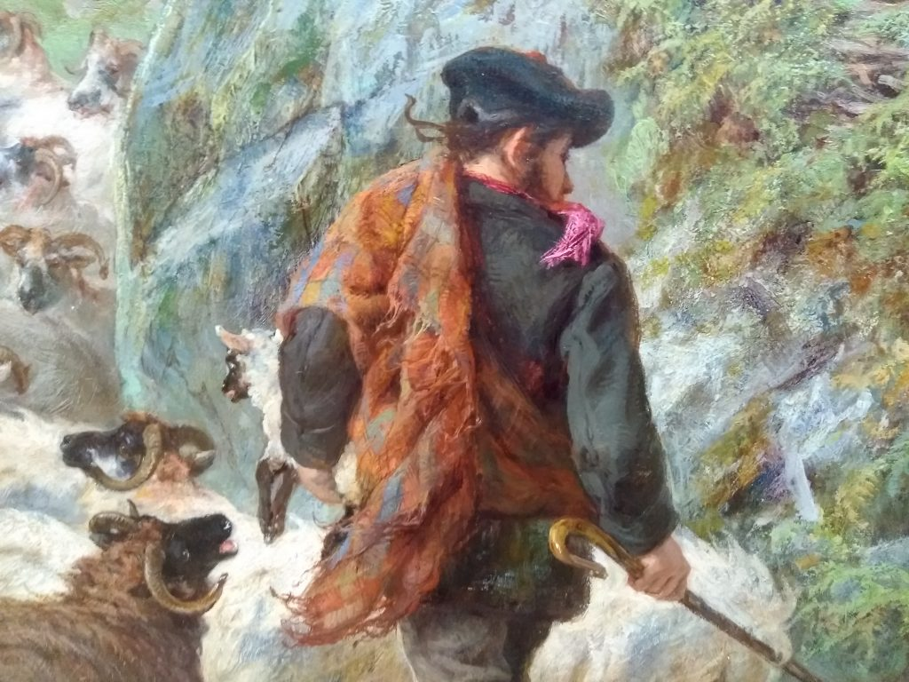 Detail of shepherd from Highland cows painting by Gourlay Steel