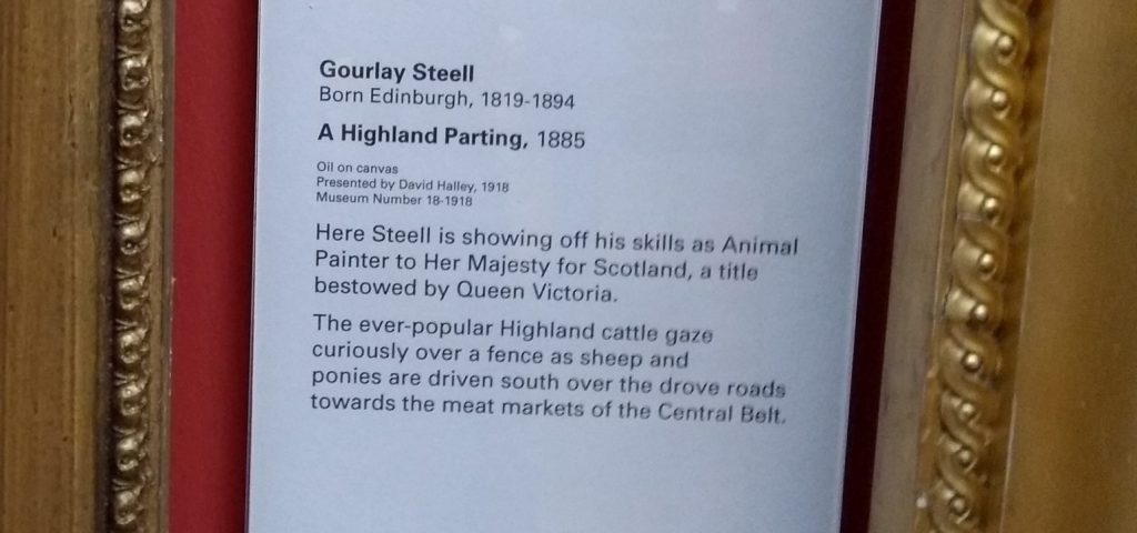 Gallery label for Highland cows painting by Gourlay Steel