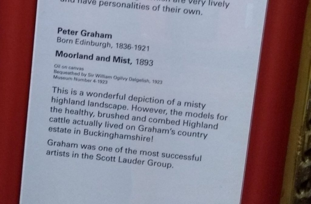 Gallery label for highland cow painting by Peter Hraham