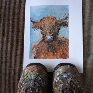 Highland cow mixed media