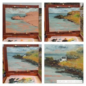 Four steps of a plein air painting in progress, of Aird bay Skye