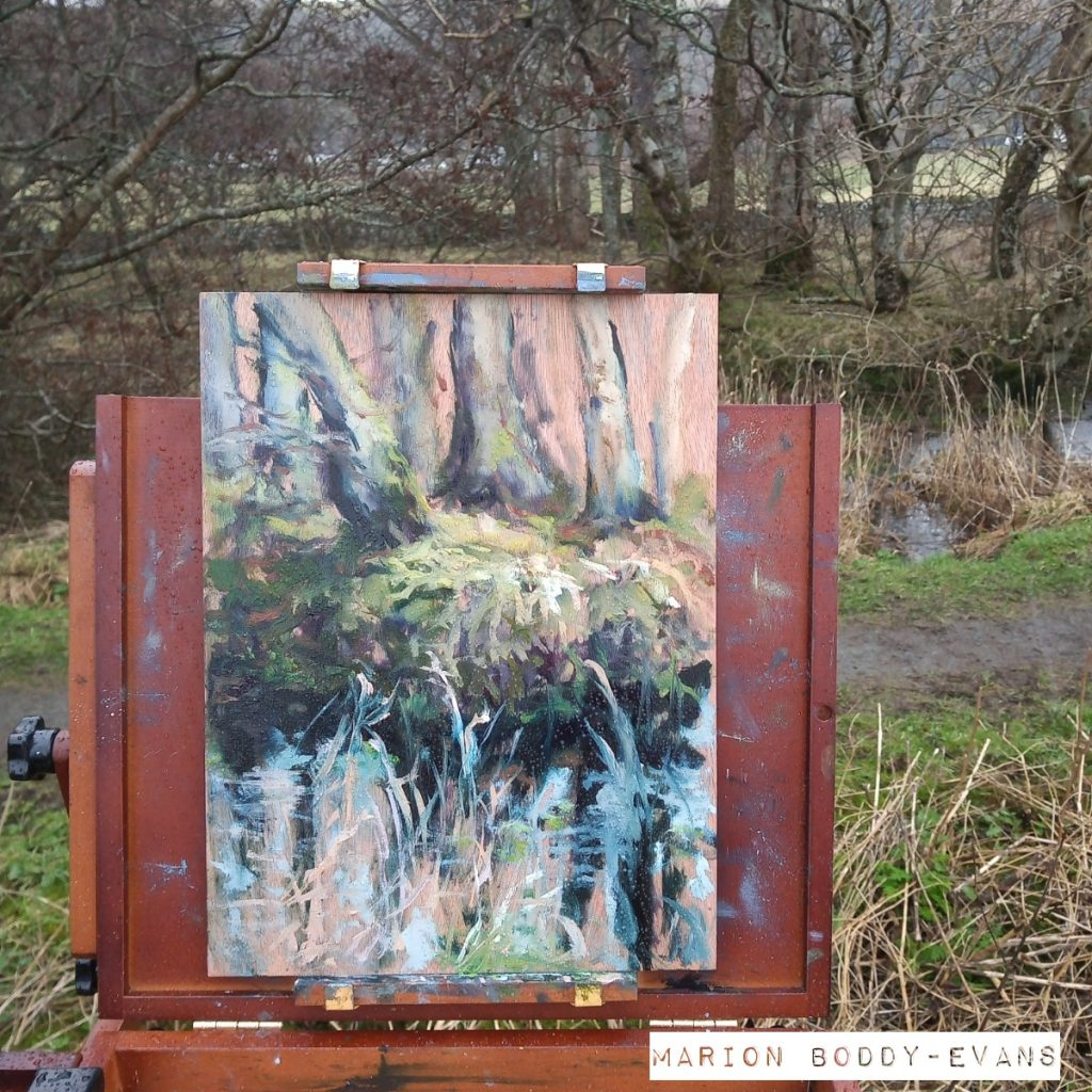 Plein air painting Uig Woodland Puddle painting