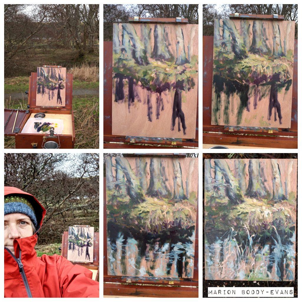 Uig Woodland Puddle painting