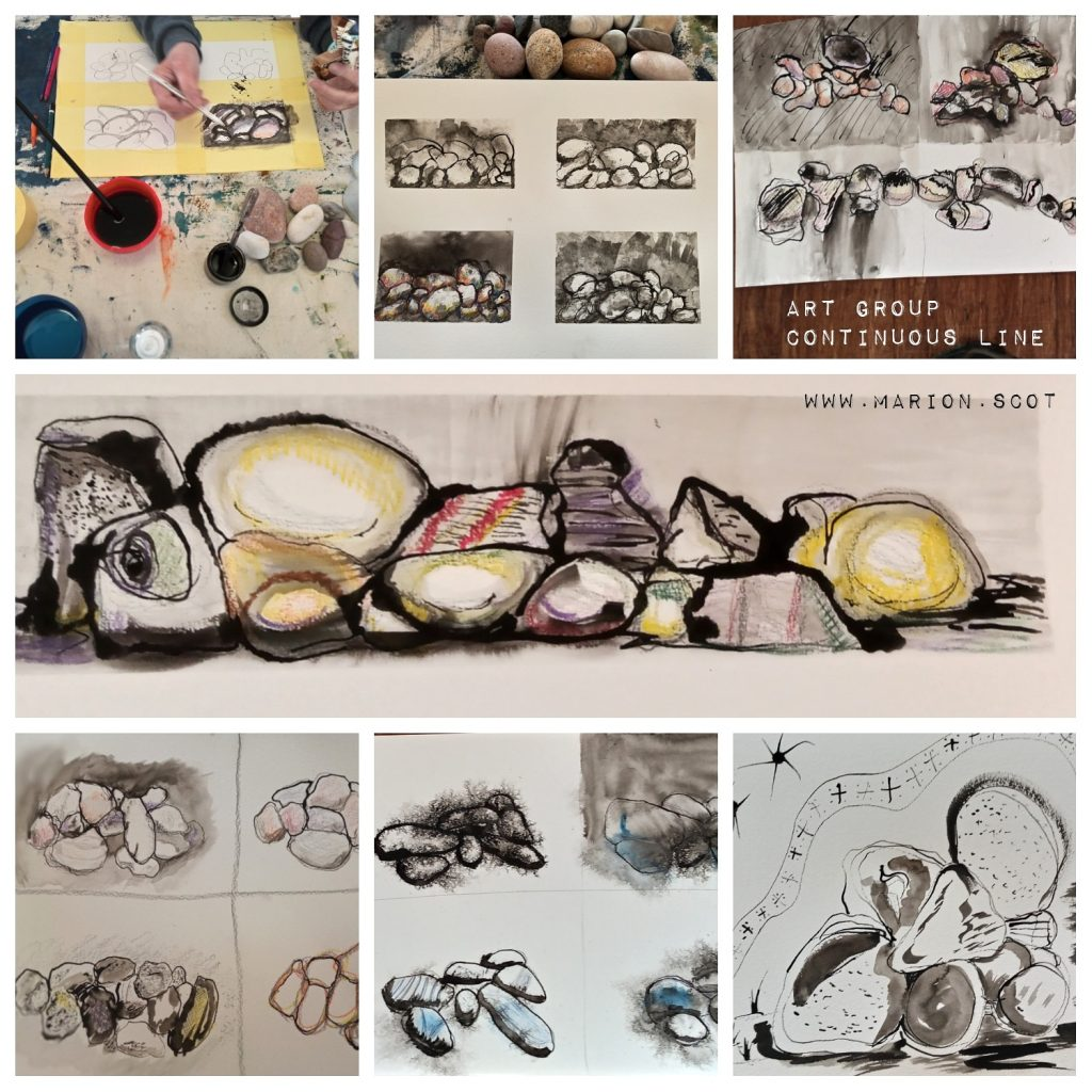 Marion's Art Group Continuous Line and Pebbles paintings