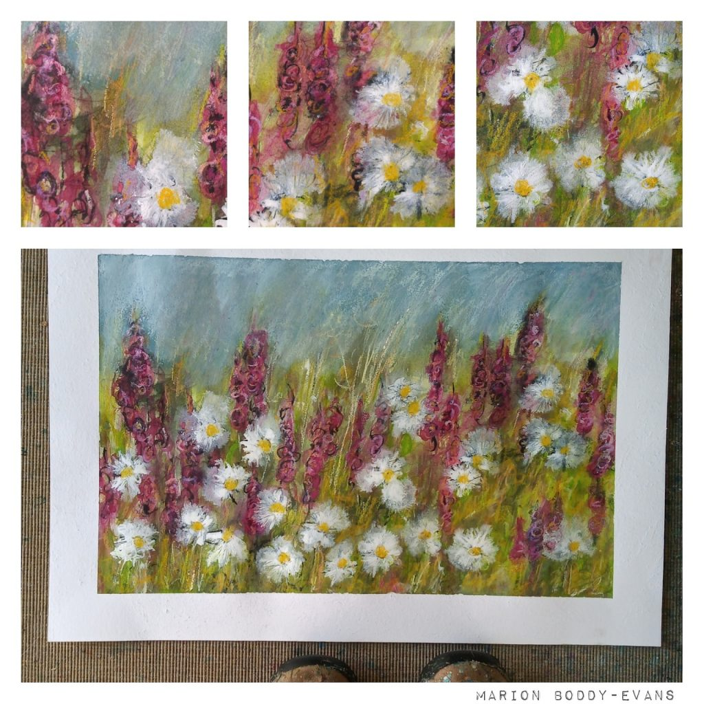 Foxgloves and Daisies painting